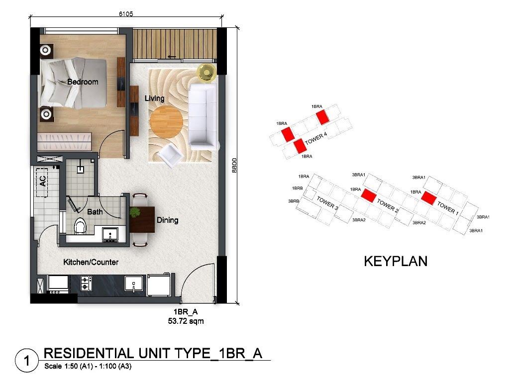 căn hộ 53 m2 1 phòng ngủ dragon riverside city